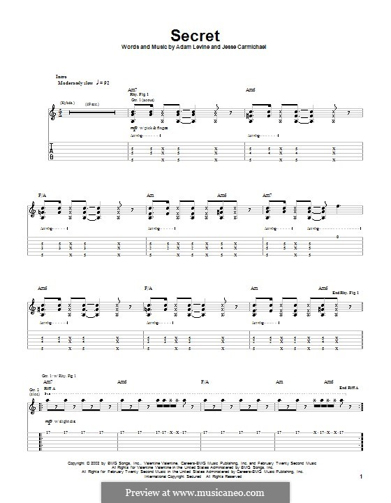 Secret (Maroon 5): For guitar with tab by Adam Levine, Jesse Carmichael