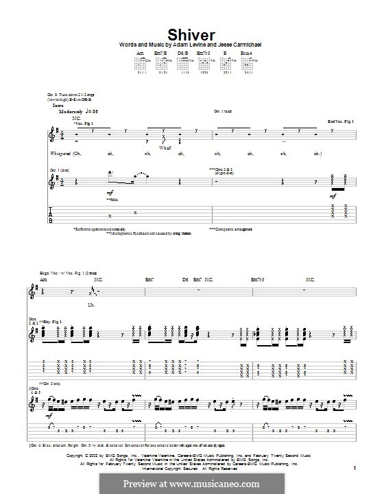 Shiver (Maroon 5): For guitar with tab by Adam Levine, Jesse Carmichael