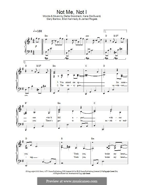 Not Me, Not I: For easy piano by Delta Goodrem, Eliot Kennedy, Gary Barlow, Jarrad Rogers, Kara DioGuardi