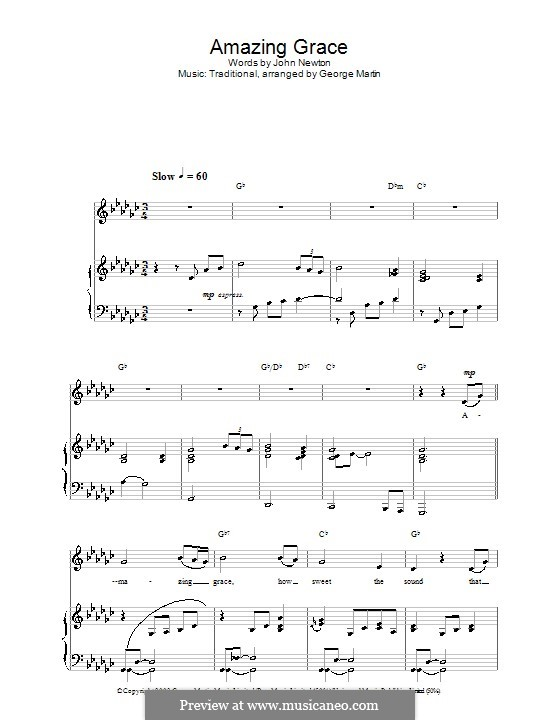Amazing Grace (Printable Scores): For voice and piano or guitar (G Flat Major) by folklore