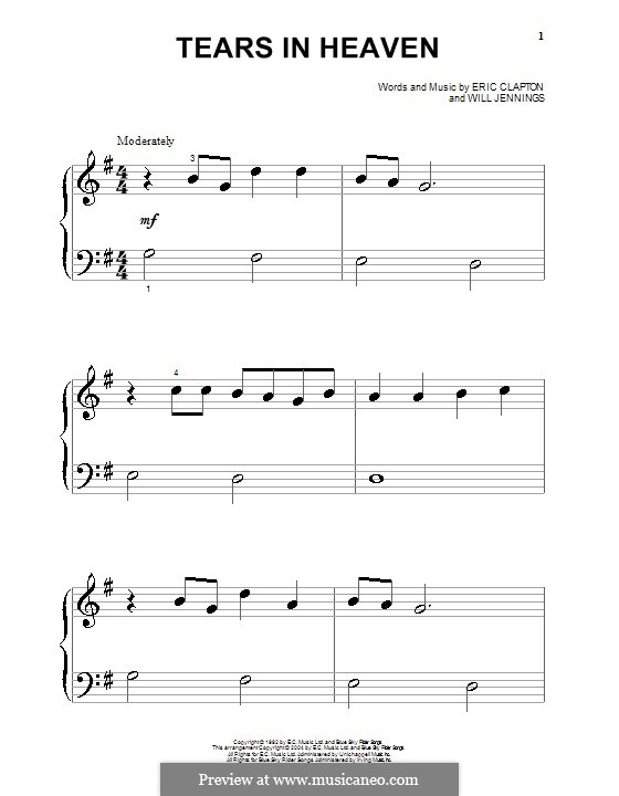 Tears in Heaven: For piano (very easy version) by Eric Clapton, Will Jennings