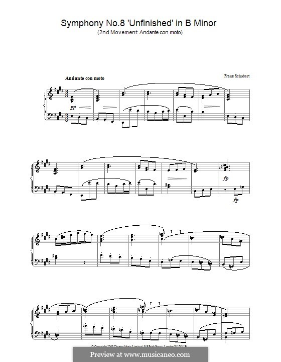 Symphony No.8 in B Minor 'Unfinished', D.759: Movement II (Theme). Version for piano by Franz Schubert