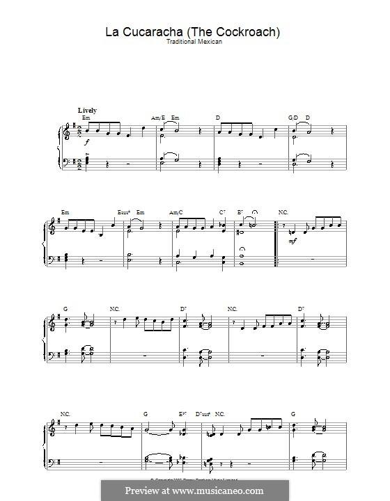 La Cucaracha (The Cockroach): For piano by folklore
