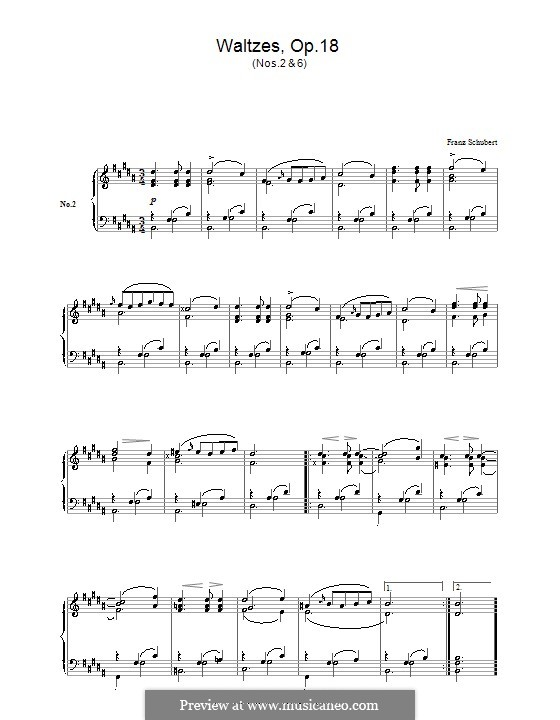 Twelve Walzer, Seventeen Ländler and Nine Ecossaises, D.145 Op.18: Waltzes No.2, 6 by Franz Schubert