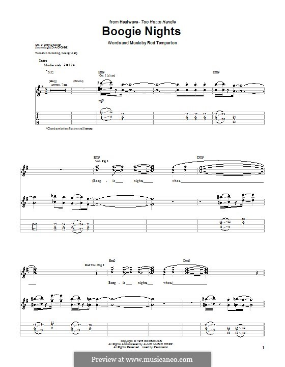 Boogie Nights: For guitar by Rod Temperton