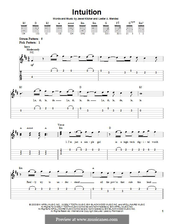 Intuition (Jewel): For guitar (very easy version) by Jewel Kilcher, Lester A. Mendez