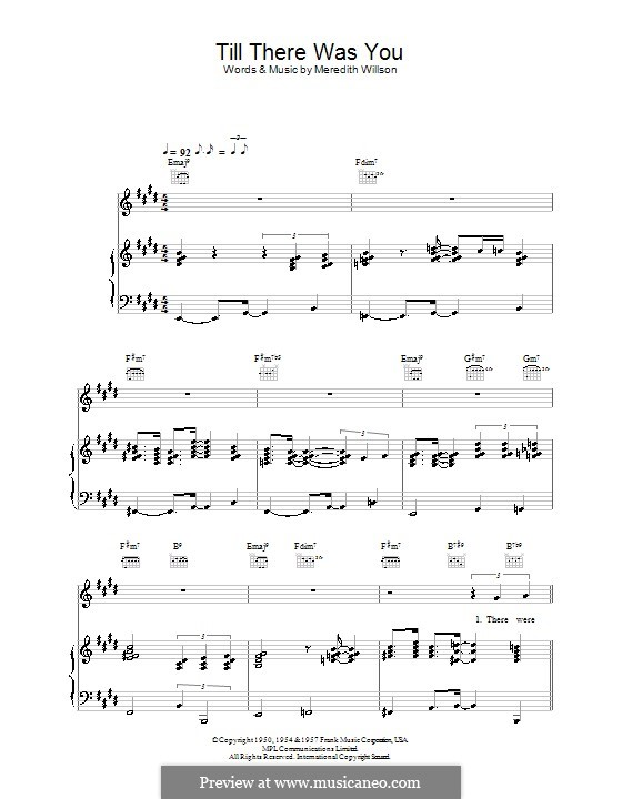 Till There Was You: For voice and piano or guitar (E Major) by Meredith Willson