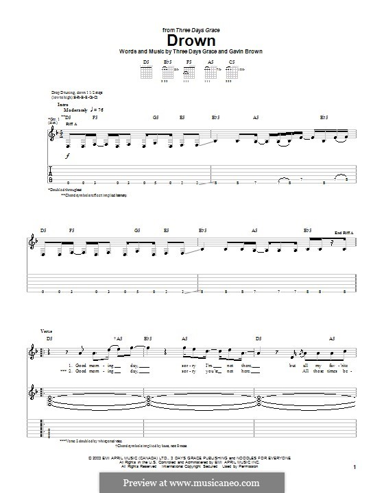 Drown (Three Days Grace): For guitar with tab by Gavin Brown