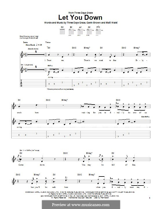 Let You Down (Three Days Grace): For guitar with tab by Gavin Brown, Matt Walst