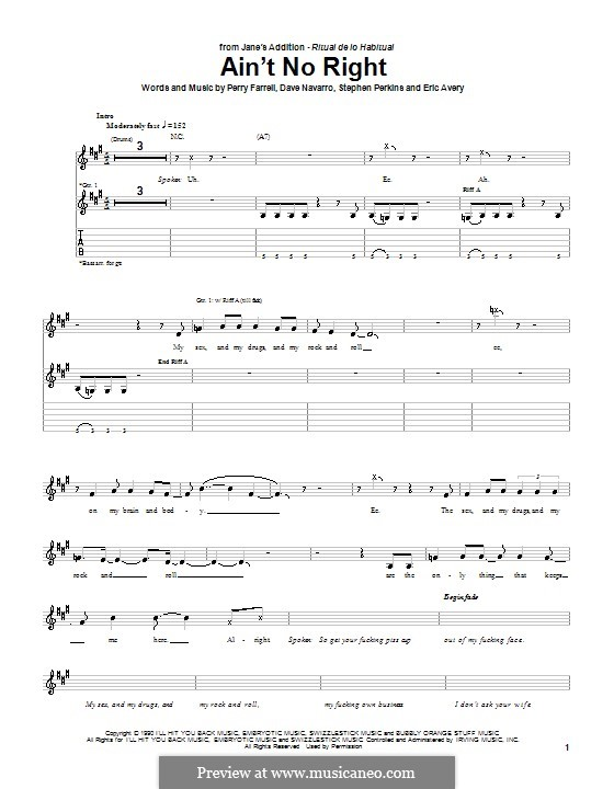 Ain't No Right (Jane's Addiction): For guitar with tab by Dave Navarro, Perry Farrell, Stephen Perkins