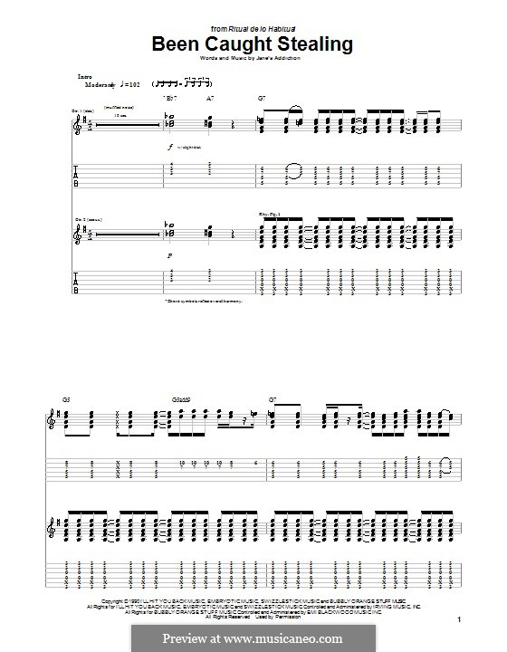 Been Caught Stealing (Jane's Addiction): For guitar with tab by Dave Navarro, Eric Avery, Perry Farrell, Stephen Perkins