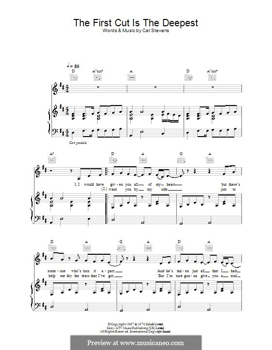 The First Cut Is The Deepest By C Stevens Sheet Music On Musicaneo
