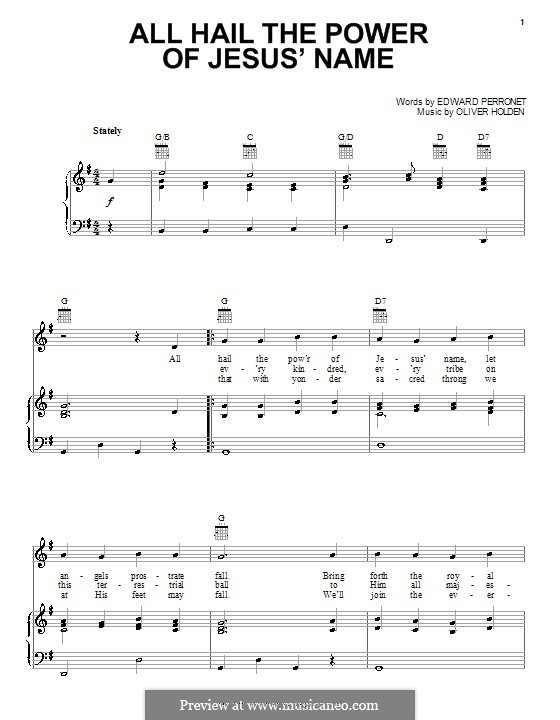 All Hail the Power of Jesus' Name: For voice and piano (or guitar) by Oliver Holden
