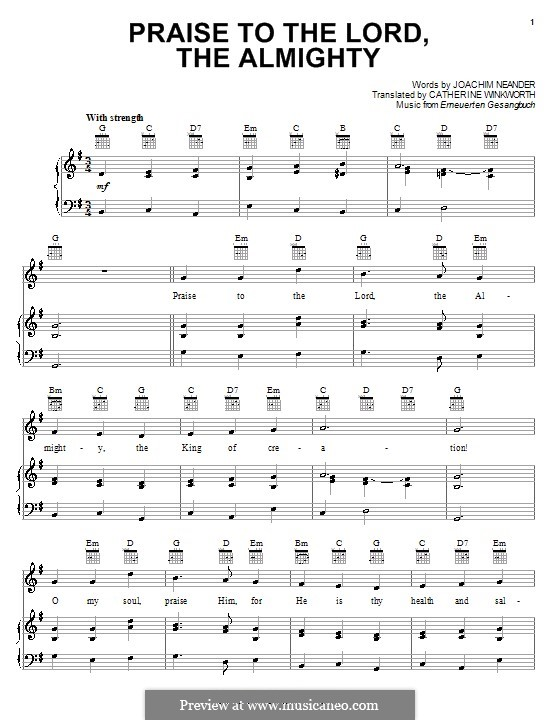 Praise to the Lord, the Almighty: For voice and piano (or guitar) by Unknown (works before 1850)