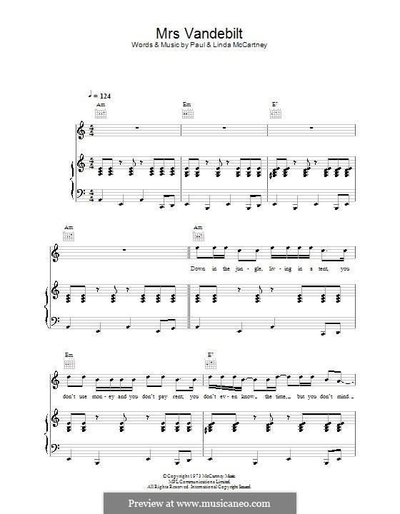 Mrs. Vandebilt (Wings): For voice and piano (or guitar) by Linda McCartney, Paul McCartney