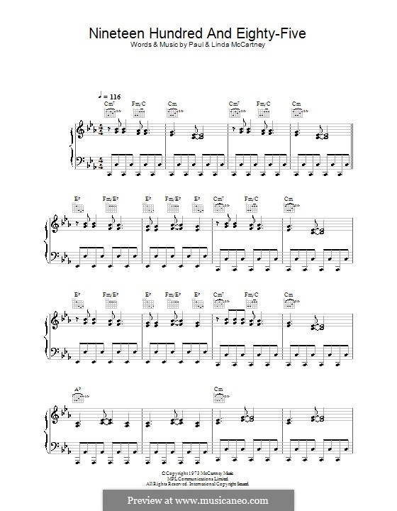 Nineteen Hundred and Eighty Five (Wings): For voice and piano (or guitar) by Paul McCartney