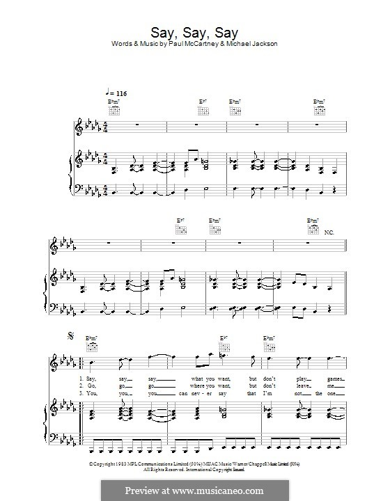 Say Say Say: For voice and piano (or guitar) by Michael Jackson, Paul McCartney