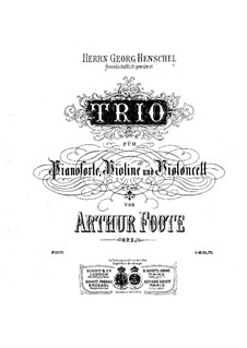 Piano Trio No.1 in C Minor, Op.5: Full score, Parts by Arthur Foote