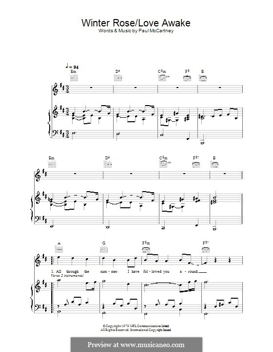Winter Rose/Love Awake: For voice and piano (or guitar) by Paul McCartney