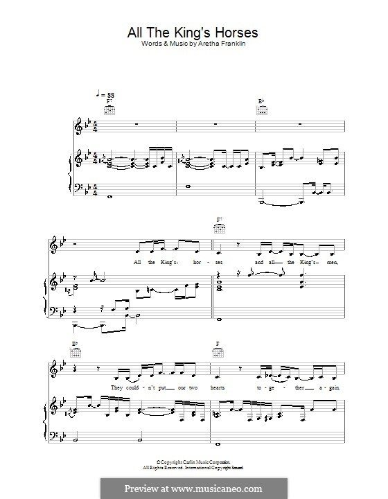 All the King's Horses (Joss Stone): For voice and piano (or guitar) by Aretha Franklin
