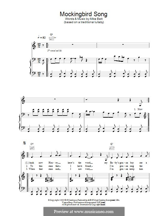Mockingbird Song (Katie Melua): For voice and piano (or guitar) by Mike Batt