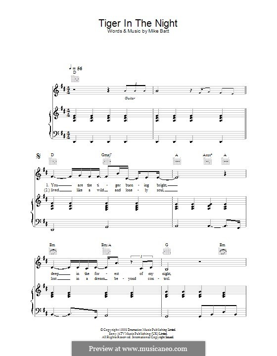 Tiger in the Night (Katie Melua): For voice and piano (or guitar) by Mike Batt