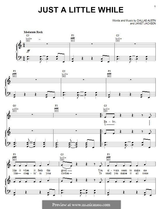 Just a Little While (Janet Jackson): For voice and piano (or guitar) by Dallas Austin