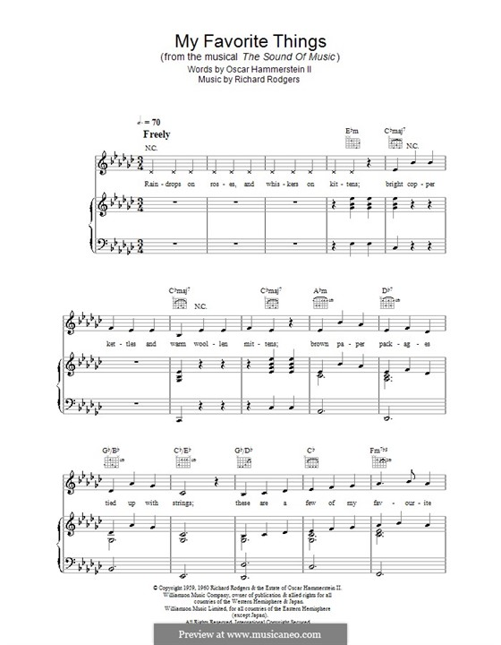 My Favorite Things (from The Sound of Music): For voice and piano (or guitar) by Richard Rodgers