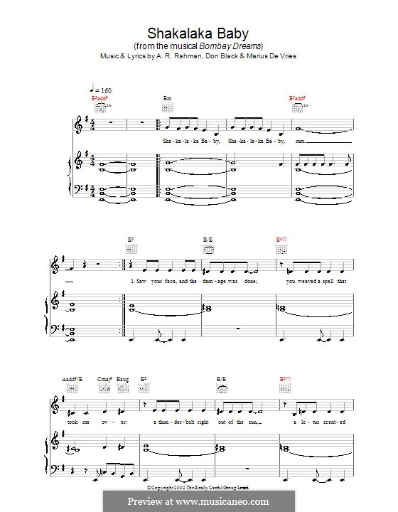 Shakalaka Baby (from Bombay Dreams): For voice and piano (or guitar) by A.R. Rahman, Don Black, Marius De Vries