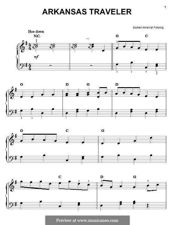 Arkansas Traveler: For easy piano by folklore