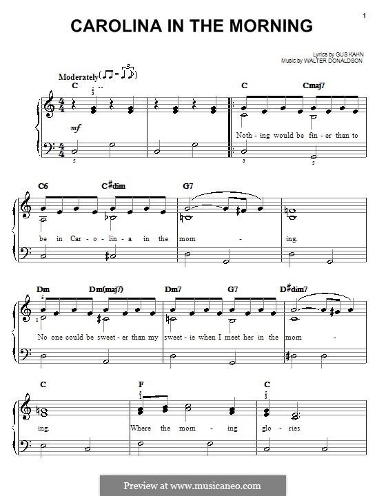 Carolina in the Morning: For easy piano (Al Jolson) by Walter Donaldson