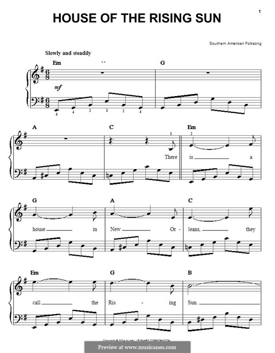 House of the Rising Sun: For easy piano by folklore