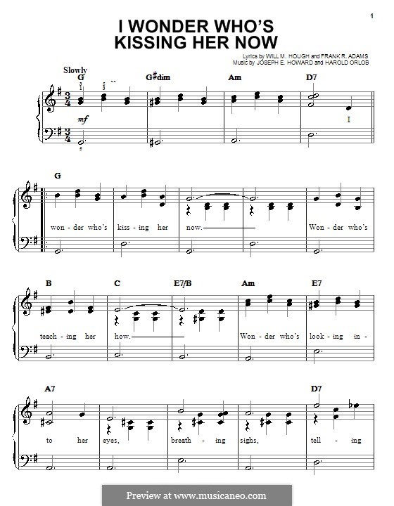 I Wonder Who's Kissing Her Now: For easy piano by Joseph Edgar Howard