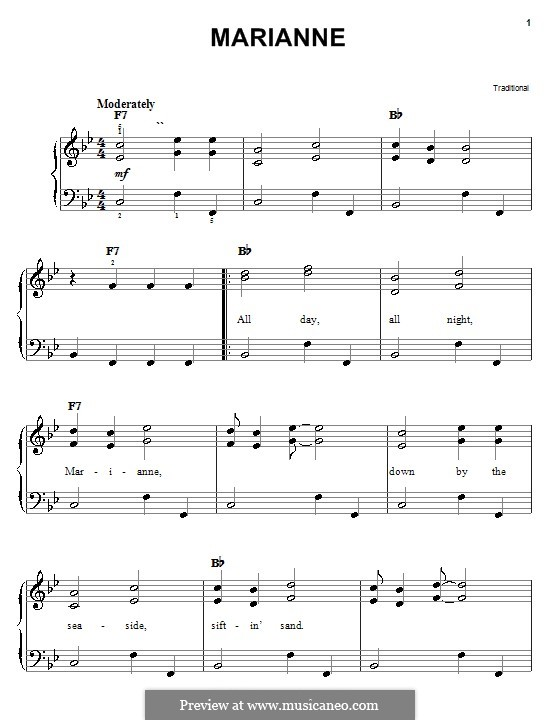 Marianne: For easy piano by folklore