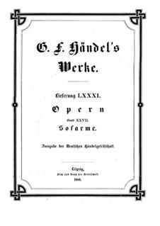 Sosarmes, King of Media, HWV 30: Full score by Georg Friedrich Händel