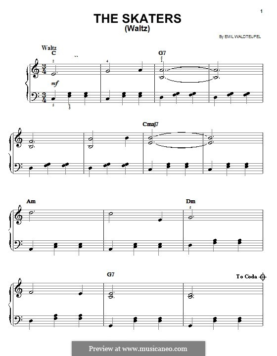 The Skaters Waltz: For piano by Émile Waldteufel