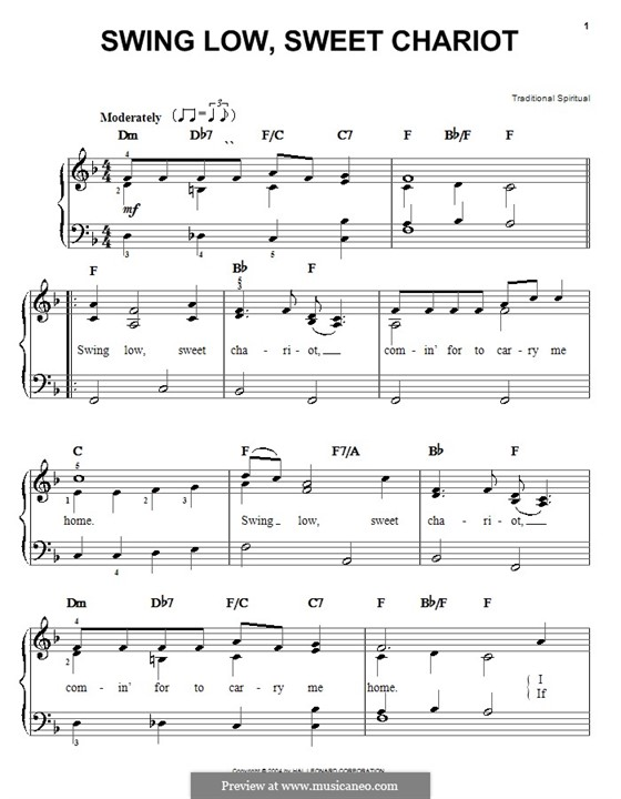 Swing Low, Sweet Chariot: For easy piano by folklore