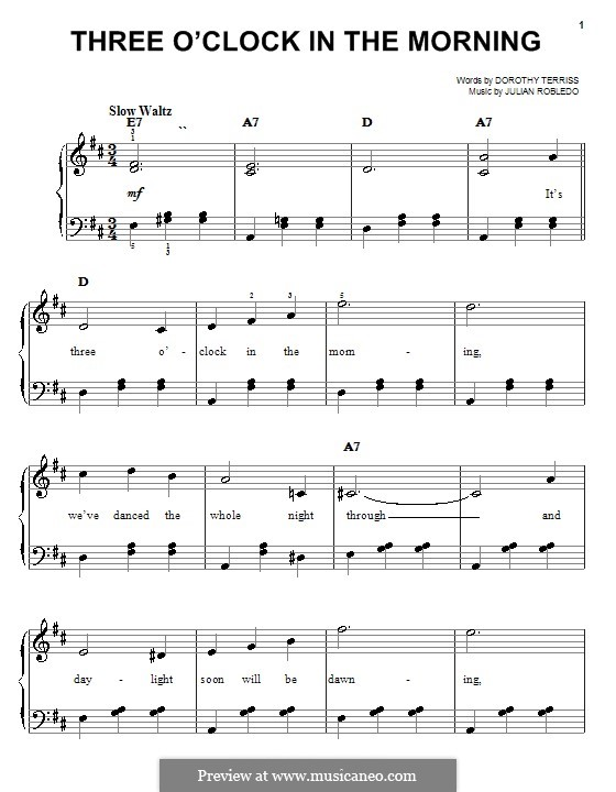 Three O'Clock in the Morning: For easy piano by Julian Robledo