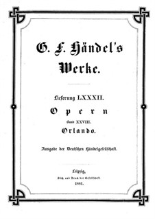Orlando, HWV 31: Full score by Georg Friedrich Händel