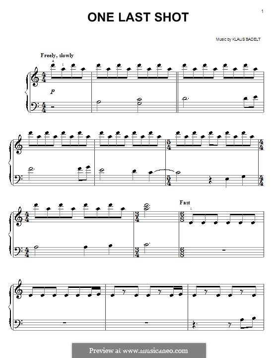 One Last Shot (from Pirates of The Caribbean: The Curse of the Black Pearl): For easy piano by Klaus Badelt
