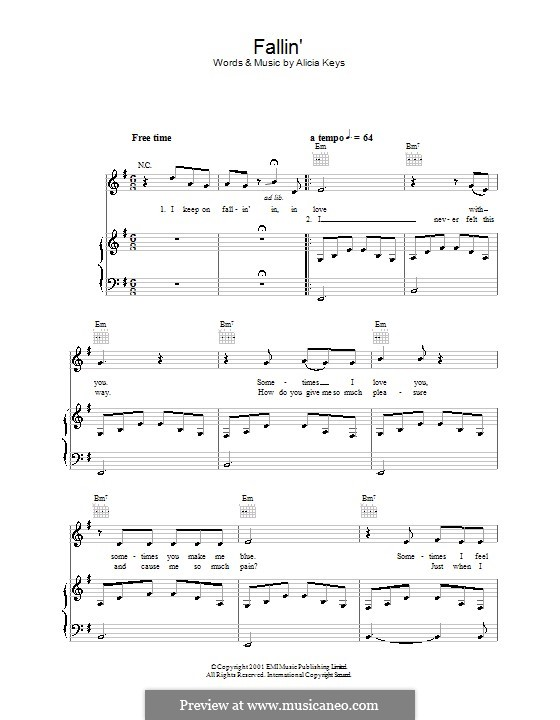 Fallin': For voice and piano (or guitar) by Alicia Keys