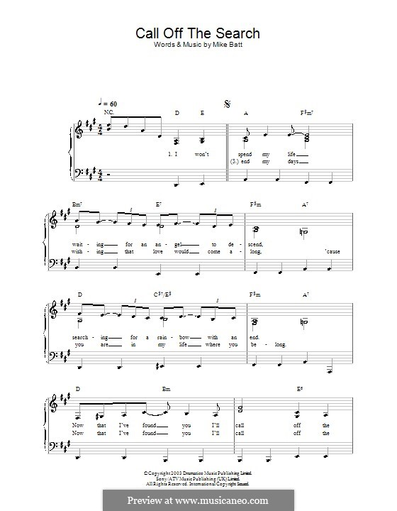 Call Off the Search (Katie Melua): For easy piano by Mike Batt
