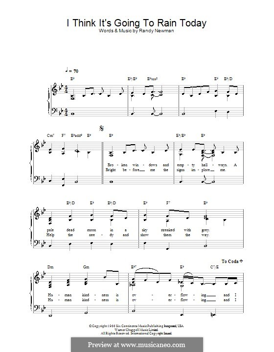I Think it's Going to Rain Today (Katie Melua): For easy piano by Randy Newman