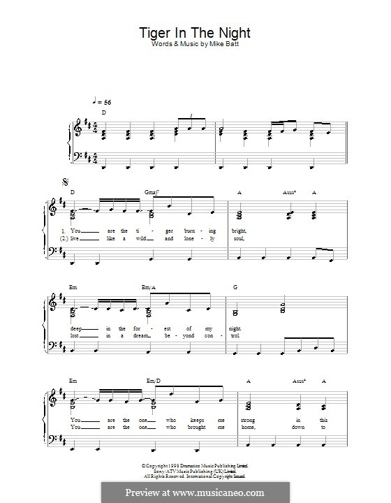 Tiger in the Night (Katie Melua): For easy piano by Mike Batt