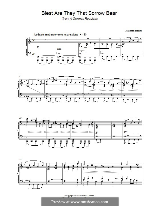 A German Requiem, Op.45: Movement I, for piano by Johannes Brahms