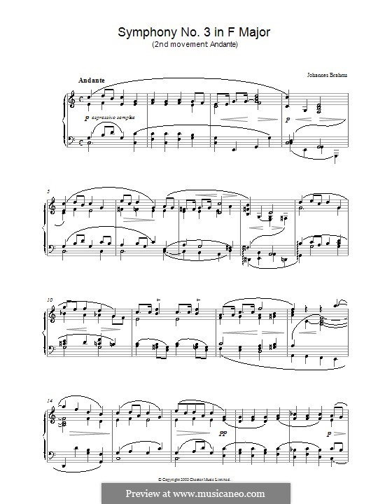 Movement II: Version for piano by Johannes Brahms