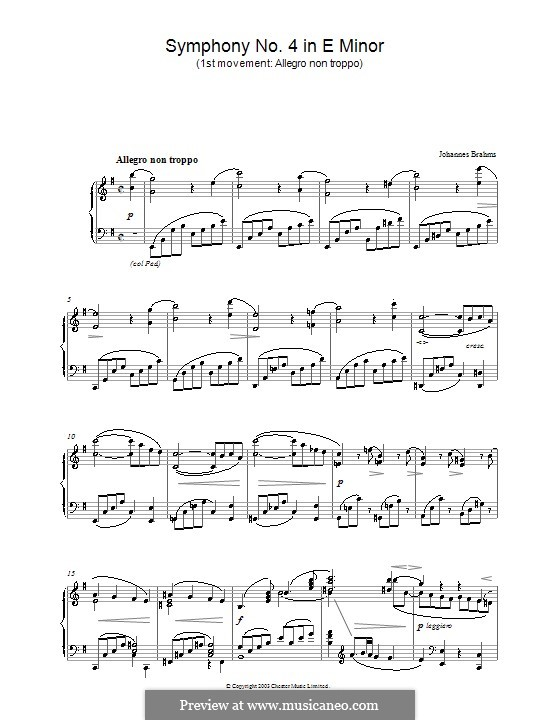 Movement I: Version for piano by Johannes Brahms
