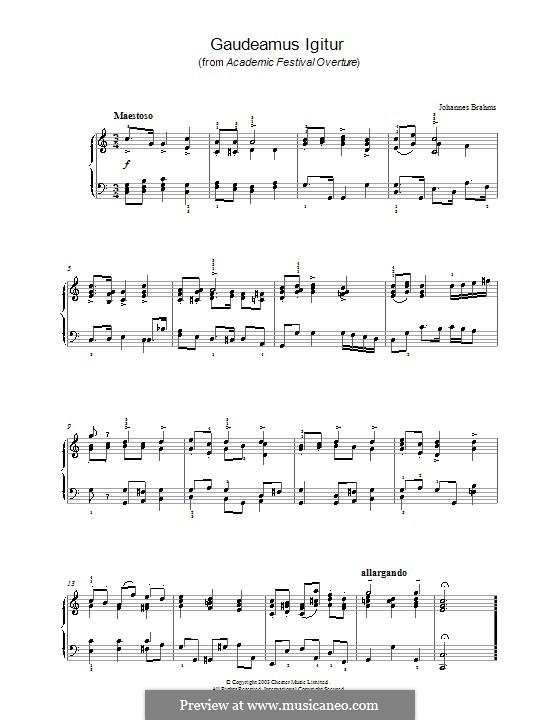Gaudeamus Igitur: For piano by Johannes Brahms