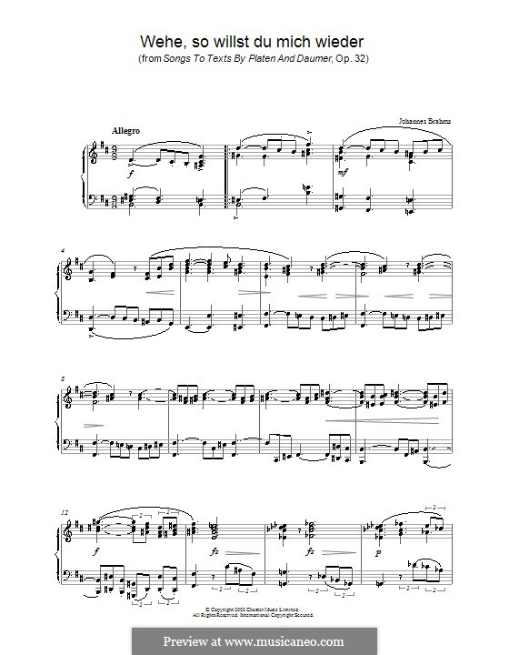 Nine Songs, Op.32: No.5 Wehe, so willst du mich wieder (Dost Thou Yet Seek to Detain Me), for piano by Johannes Brahms