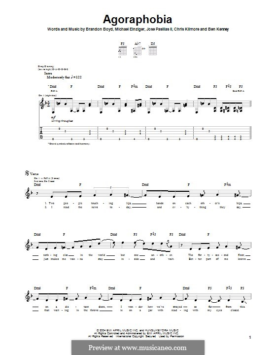 Agoraphobia (Incubus): For guitar with tab by Brandon Boyd, Jose Pasillas II, Michael Einziger